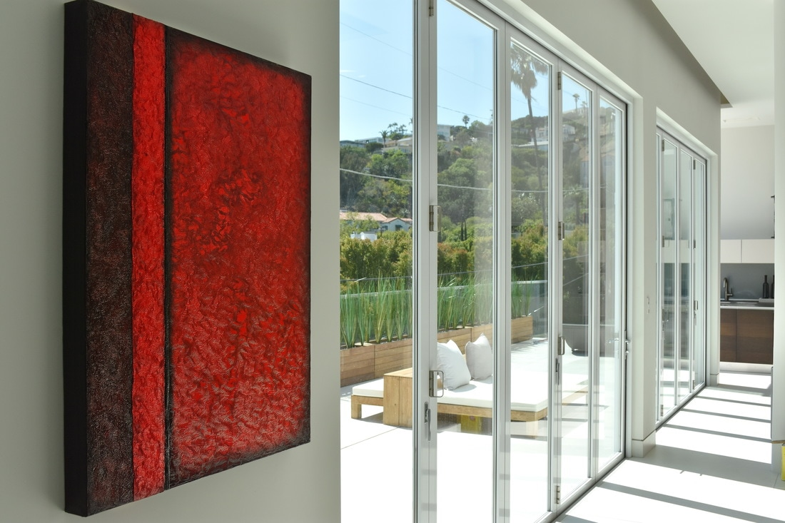 Picture red textured Jenny Simon painting in multimillion dollar home